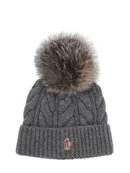 Moncler Wool And Cashmere Cable Knit Hat Grey