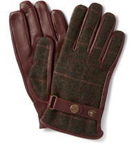 Dents Edinburgh Checked Flannel And Leather Gloves Burgundy