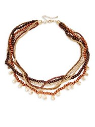 Design Lab Lord And Taylor Berry Beaded Layered Necklace Brown