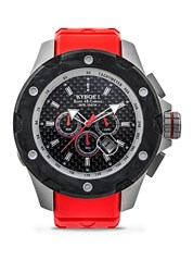 Kyboe Alpha Series Rouge Stainless Steel Strap Watch Red