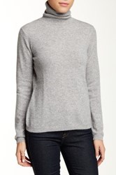 Sofia Cashmere Long Sleeve Turtleneck Cashmere Sweater Gray