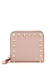 Valentino Rockstud Compact Leather Wallet Light Pink
