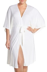 Plus Size Women's Barefoot Dreams 'Luxe Milk' Short Robe Pearl