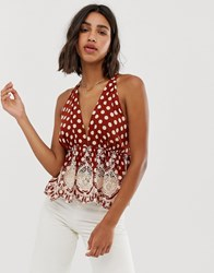 Free People Lunch Date Polka Dot Halterneck Top Red