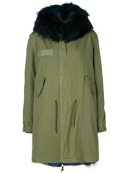 Mr And Mrs Italy E.Fur Trimmed Parka Women Cotton Lamb Skin Polyamide Coyote Fur S Green