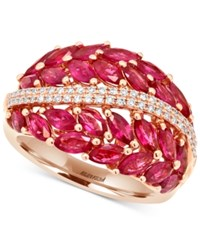 Effy Collection Effy Ruby 4 Ct. T.W. And Diamond 1 5 Ct. T.W. Statement Ring In 14K Rose Gold Red