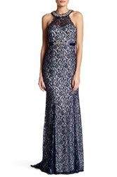 Sequin Hearts Embellished Neck Lace Gown Blue