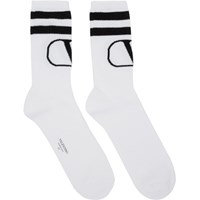 Valentino White And Black Garavani Vlogo Socks