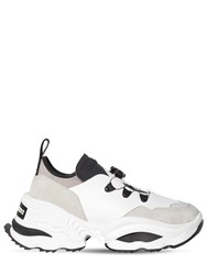 Dsquared 80Mm Leather Blend Low Top Sneakers White