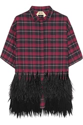 N 21 Clara Feather Trimmed Plaid Cotton Flannel Shirt Red