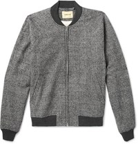 De Bonne Facture Prince Of Wales Checked Brushed Cotton And Wool Blend Bomber Jacket Gray
