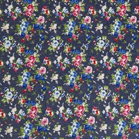 Oddies Textiles Large Floral Denim Fabric Blue