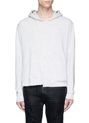 R 13 Spliced Cotton French Terry Hoodie Grey