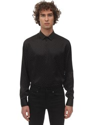 Saint Laurent S S Studded Silk Shirt Black