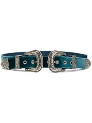 B Low The Belt Double Buckle Women Calf Leather Velvet L Green
