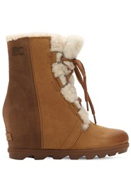 Sorel Joan Of Arctic Shearling Wedge Boots Light Brown