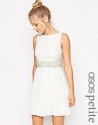 Asos Petite 3D Embellished Waist Pleated Skirt Mini Dress White