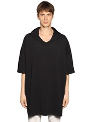 Faith Connexion Oversize Hooded Cotton Jersey T Shirt Black