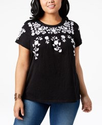 Charter Club Plus Size Cotton Embroidered Peasant T Shirt Created For Macy's Deep Black Combo