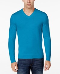 Club Room Men's Big And Tall Merino Wool V Neck Sweater Only At Macy's Diva Blue