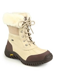 Ugg Adirondack Ii Lace Up Shearling Lined Leather Boots Sand Black Grey