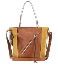 Chloe Myer Small Leather And Suede Tote Brown