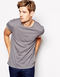 Esprit T Shirt With Roll Sleeve Lightgrey