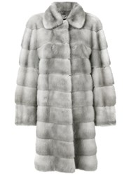 Liska Mosko Coat Women Mink Fur M Grey