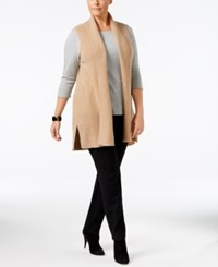 Charter Club Plus Size Cashmere Vest Only At Macy's Heather Camel