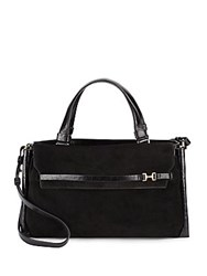 Halston Leather And Suede Shoulder Bag Black