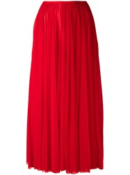 Celine Long Pleated Skirt Women Polyester 38 Red