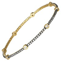 Freida Rothman Two Tone Pave Bezel Classic Stacking Bangle Silver