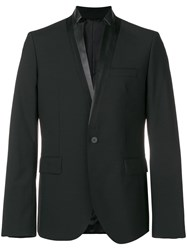 Les Hommes Fitted Button Blazer Black