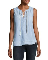 Philosophy Lace Up Chambray Top Blue