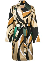 Rochas Printed Belted Coat Multicolour
