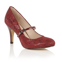 Lotus Fuzina Floral Print Mary Jane Courts Burgundy