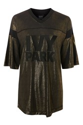 Topshop Lame Logo T Shirt By Ivy Park Gold