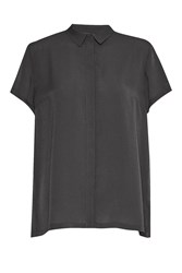 French Connection Classic Crepe Short Sleeve Shirt Charcoal