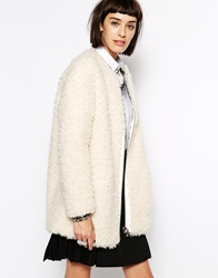 Eleven Paris Flavy Coat In Fluffy Boucle Cream