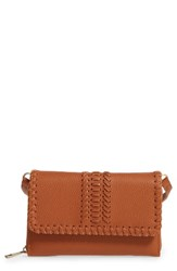 Street Level Saddle Stitch Convertible Faux Leather Crossbody Bag Brown