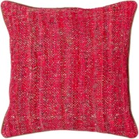 Chandra Textured Contemporary Silk Fabric Pillow Red Natural 18 Inch