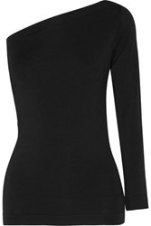 Helmut Lang One Shoulder Stretch Jersey Top Black