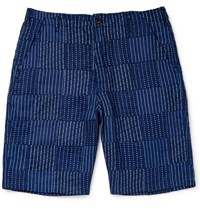 Universal Works Wide Leg Panelled Indigo Dyed Cotton Shorts
