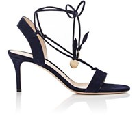 Gianvito Rossi Women's Cherry Suede Ankle Tie Sandals Navy