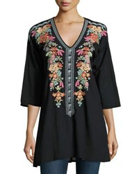 Johnny Was Heidi Embroidered V Neck Tunic Black