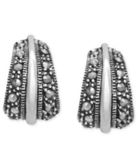 Genevieve And Grace Sterling Silver Earrings Wide J Marcasite Hoop Earrings