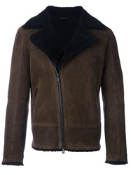 Fendi Shearling Biker Jacket Brown