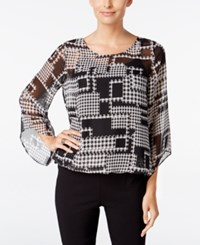Alfani Petite Printed Angel Sleeve Blouson Blouse Only At Macy's Houndstooth Cub