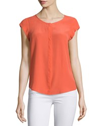 Joie Iva Cap Sleeve Silk Blouse Coral