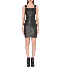 Gareth Pugh Leather Stretch Fitted Dress Black